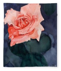 Watercolor Of A Magic Bright Single Red Rose Fleece Blanket