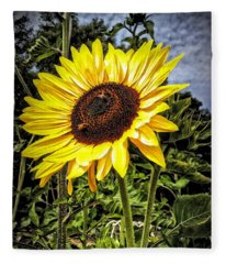 Single Sunflower Fleece Blanket
