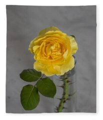 Single Yellow Rose With Thorns Fleece Blanket