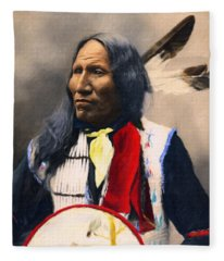 Sioux Chief Portrait Fleece Blanket
