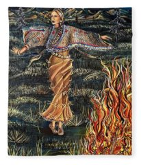 Sioux Woman Dancing Fleece Blanket