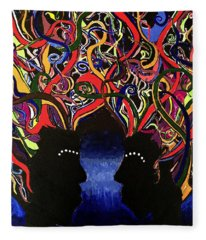 Sis The Twins - Abstract Silhouette Painting - Sisterhood - Abstract Painting  Fleece Blanket