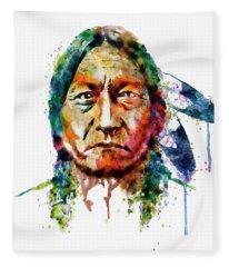 Sitting Bull Watercolor Painting Fleece Blanket