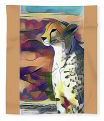 Sitting Cheetah  Fleece Blanket