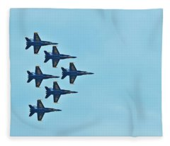 Six Blue Angels In The Clear Blue Sky Fleece Blanket