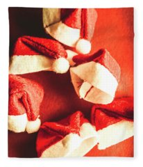 Six Santa Hats In Vintage Tone Fleece Blanket