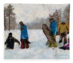 Six Sledders In The Snow Fleece Blanket