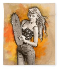 Skateboard Pin-up Illustration Fleece Blanket