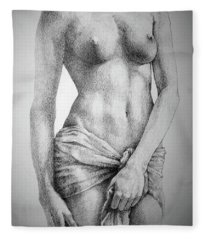 Sketchbook Page 35 The Female Pencil Drawing Fleece Blanket