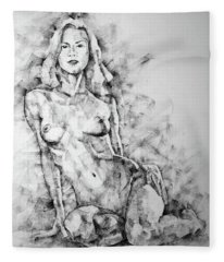 Sketchbook Page 36 Female Sitting Pose Drawing Fleece Blanket