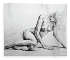 Sketchbook Page 37 Lateral Pose Sketch Drawing Fleece Blanket