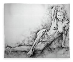 Sketchbook Page 38 Female Sitting Lateral Pose Drawing Fleece Blanket