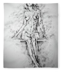Sketchbook Page 39 Drawing Female Full Body Sitting Front Pose Fleece Blanket