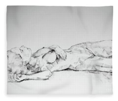 Sketchbook Page 40 I Lying Girl Charcoal Drawing Fleece Blanket