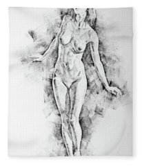 Sketchbook Page 41 I Live Figure Drawing Model Standing Pose Fleece Blanket