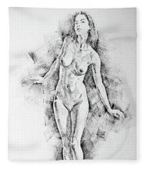 Sketchbook Page 41 I Live Figure Drawing Model Standing Pose Fleece Blanket