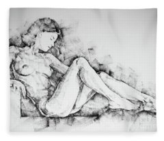 Sketchbook Page 42 Drawing Girl Sitting Pose Fleece Blanket