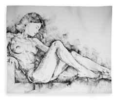 Sketchbook Page 42 Drawing Girl Sitting Pose Fleece Blanket
