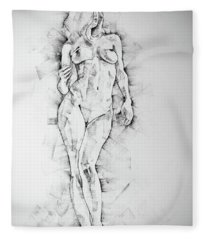 Sketchbook Page 43 Drawing Of Standing Figure Of A Woman Fleece Blanket