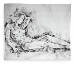 Sketchbook Page 44 Whole Figure Drawing Girl Beautiful Light Fleece Blanket