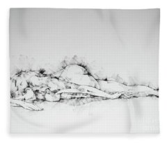 Sketchbook Page 45 Woman Lying On Stomach Life Drawing Female Figure Fleece Blanket