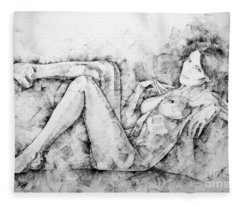 Sketchbook Page 46 Drawing Woman Classical Sitting Pose Fleece Blanket