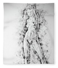 Sketchbook Page 47 Straight Human Figure Drawing Fleece Blanket