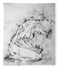 Sketchbook Page 49 Kneeling Pose Drawing Fleece Blanket