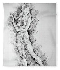 Sketchbook Page 50 Drawings Of Girl Classic Straight Pose Fleece Blanket
