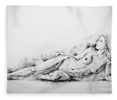 Sketchbook Page 51 Figure Drawing Fine Art Woman Classical Pose Fleece Blanket