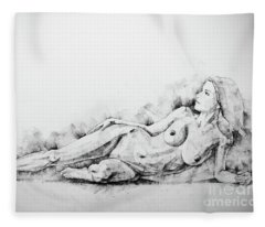 Sketchbook Page 51 Figure Drawing Fine Art Woman Classical Pose Fleece Blanket
