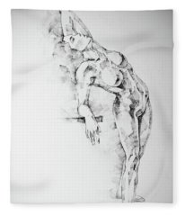 Sketchbook Page 52 Girl Art Drawing Classical Pose Fleece Blanket