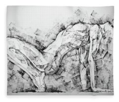 Sketchbook Page 53 Woman Glamour Pose Art Drawing Fleece Blanket