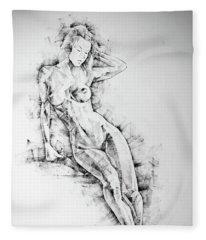 Sketchbook Page 54 Beautiful Slim Young Woman Standing Pose Drawing Fleece Blanket