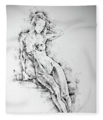 Sketchbook Page 54 Beautiful Slim Young Woman Standing Pose Drawing Fleece Blanket