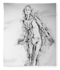 Sketchbook Page 56 Girl Stand Up Pose Drawing Fleece Blanket