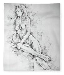 Sketchbook Page 57 Woman One Side Sitting Pose Drawing Fleece Blanket