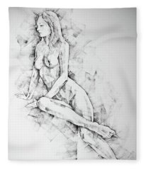 Sketchbook Page 57 Woman One Side Sitting Pose Drawing Fleece Blanket