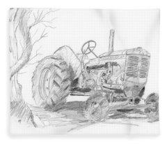 Sketchy Tractor Fleece Blanket