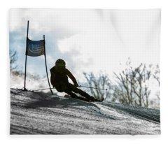 Ski Racer Backlit Fleece Blanket