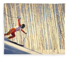 Skiing In Aspen, Colorado Fleece Blanket