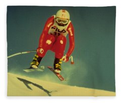 Skiing In Crans Montana Fleece Blanket