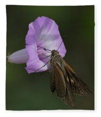 Brown Skipper On Wild Morning Glory Fleece Blanket