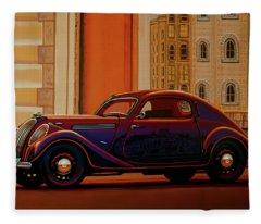 Skoda Popular Sport Monte Carlo 1935 Painting Fleece Blanket
