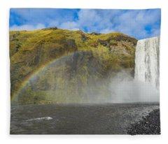 Skogafoss Rainbow Fleece Blanket