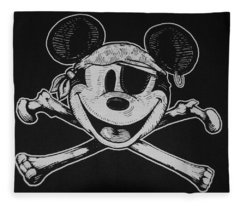 Skull And Bones Mickey  Fleece Blanket