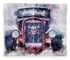 Skull And Cross Wrench Watercolor Fleece Blanket