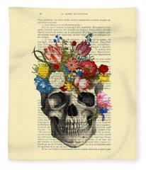Skull With Flowers Vintage Illustration Fleece Blanket