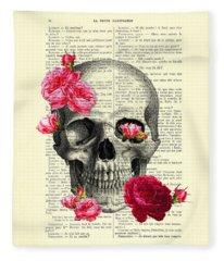 Skull And Pink Roses Fleece Blanket