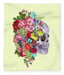 Skull Floral 2 Fleece Blanket